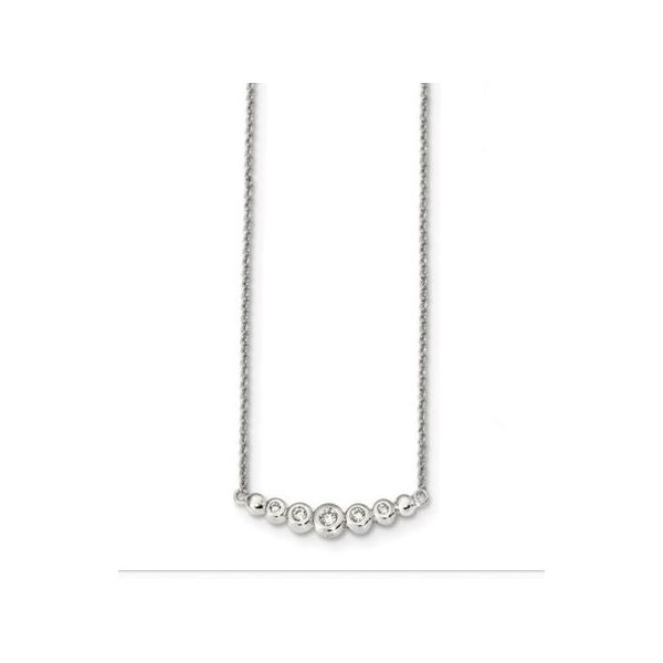 SS Graduated CZ  Bar Necklace 18