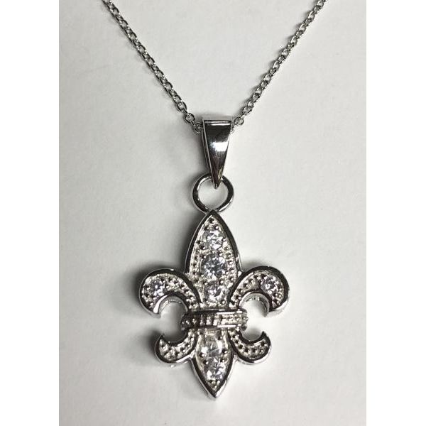 SS & CZ Fleur De Lis Necklace 16in with 2in extension Pineforest Jewelry, Inc. Houston, TX