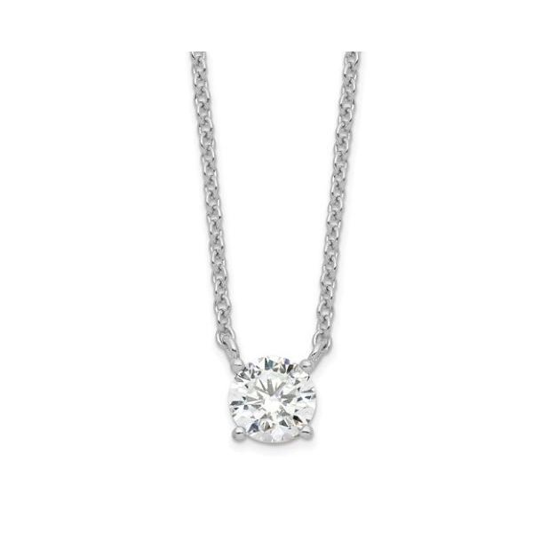 Sterling Silver  Round CZ Necklace w/ 1in ext. Pineforest Jewelry, Inc. Houston, TX