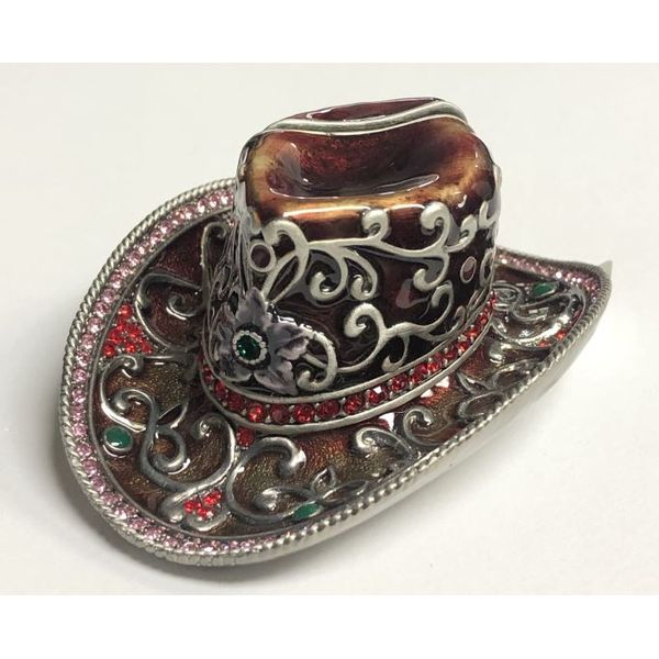 Red Cowboy Hat card holder with Swarovski Crystals Pineforest Jewelry, Inc. Houston, TX