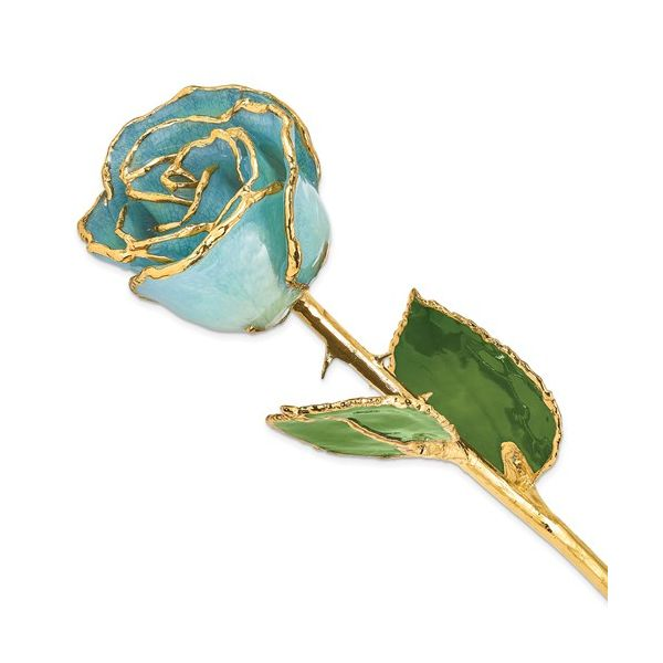 24K Gold Trimmed & Lacquered March/Aquamarine (Light Blue) Rose Pineforest Jewelry, Inc. Houston, TX