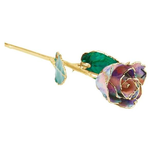 Lacquered October Opal Colored Rose with Gold Trim Pineforest Jewelry, Inc. Houston, TX