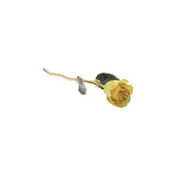24K Lacquered Yellow Rose with Gold Trim Pineforest Jewelry, Inc. Houston, TX