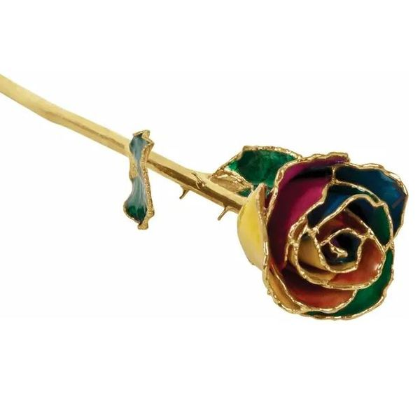 24K Lacquered Rainbow Rose with Gold Trim Pineforest Jewelry, Inc. Houston, TX