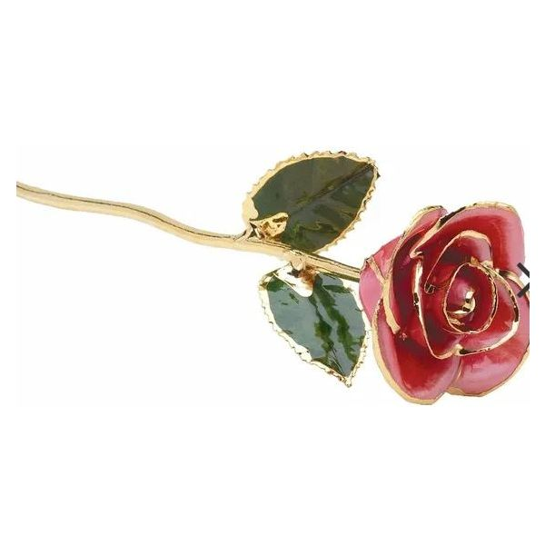24K Lacquered Pink Rose with Gold Trim Pineforest Jewelry, Inc. Houston, TX