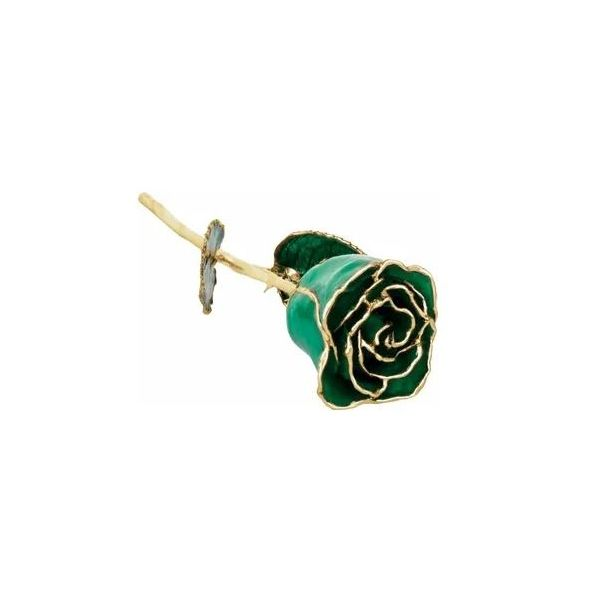 Emerald Colored Rose with 24K Gold Trim Pineforest Jewelry, Inc. Houston, TX