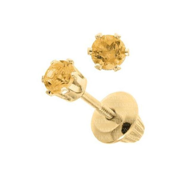 14KY Citrine Birthstone Earrings with Screwback Posts & Backs Pineforest Jewelry, Inc. Houston, TX