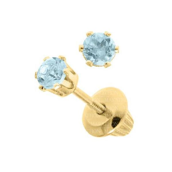 14KY Blue Zircon Birthstone Earrings with Screwback Posts & Backs Pineforest Jewelry, Inc. Houston, TX