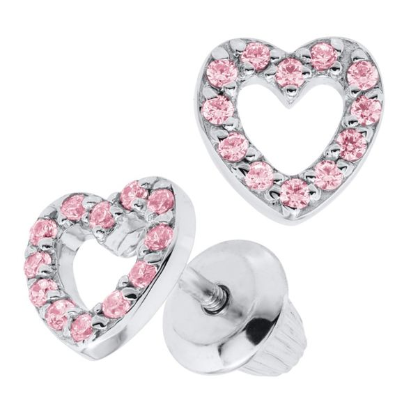 SS Open Heart Pink Cubic Zirconia Earring Pair with Screwback Posts & Backs Pineforest Jewelry, Inc. Houston, TX