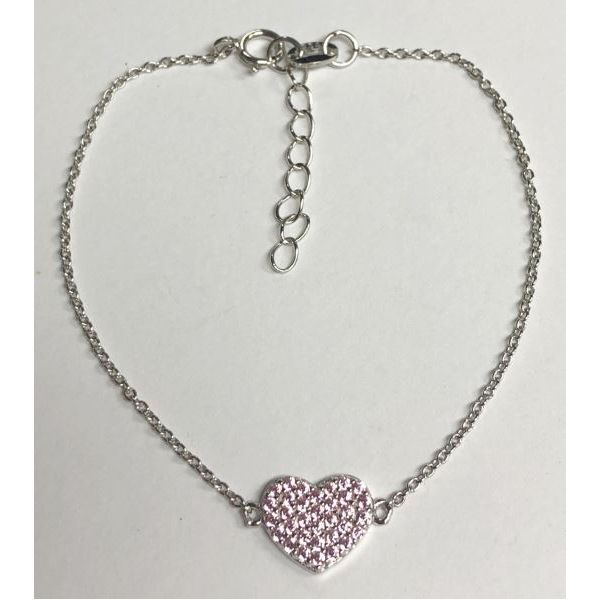 SS Fine Pave Baby Pink CZ Heart Bracelet 6in with 1in extension Pineforest Jewelry, Inc. Houston, TX