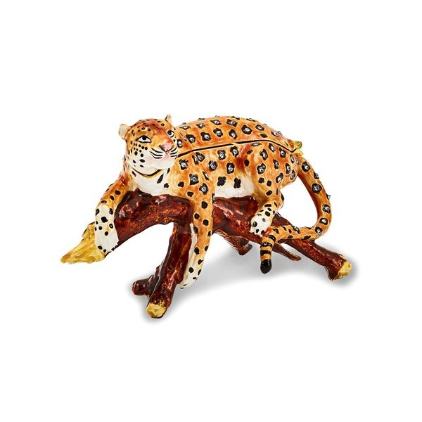 Bejeweled Leopard In Tree Trinket Box Pineforest Jewelry, Inc. Houston, TX