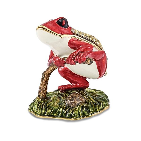 Bejeweled Rascal Red Frog On Branch Trinket Box Pineforest Jewelry, Inc. Houston, TX
