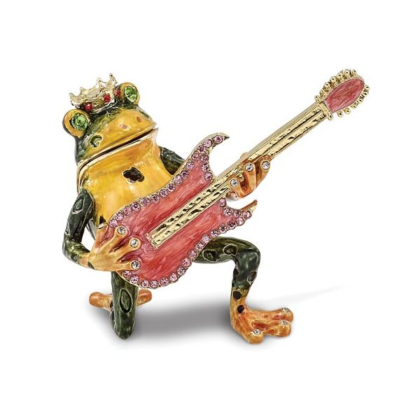Bejeweled KEITH Rocks Musician Frog Trinket Box Pineforest Jewelry, Inc. Houston, TX