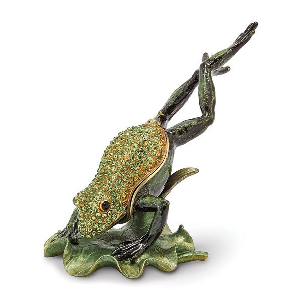 Bejeweled CLEM HOPPER Diving Frog Trinket Box Pineforest Jewelry, Inc. Houston, TX