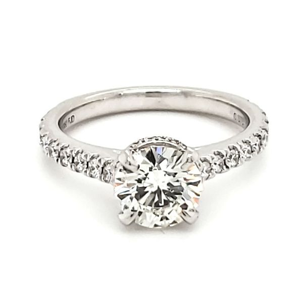 Platinum Hidden Halo 1.28 Carat Diamond Engagement Ring Quality Gem, LLC Bethel, CT