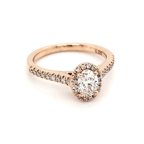 14K Rose Gold 1/2 Carat Oval Diamond Halo Engagement Ring Image 2 Quality Gem LLC Bethel, CT