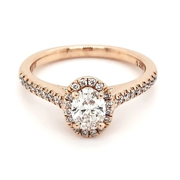 14K Rose Gold 1/2 Carat Oval Diamond Halo Engagement Ring Quality Gem LLC Bethel, CT