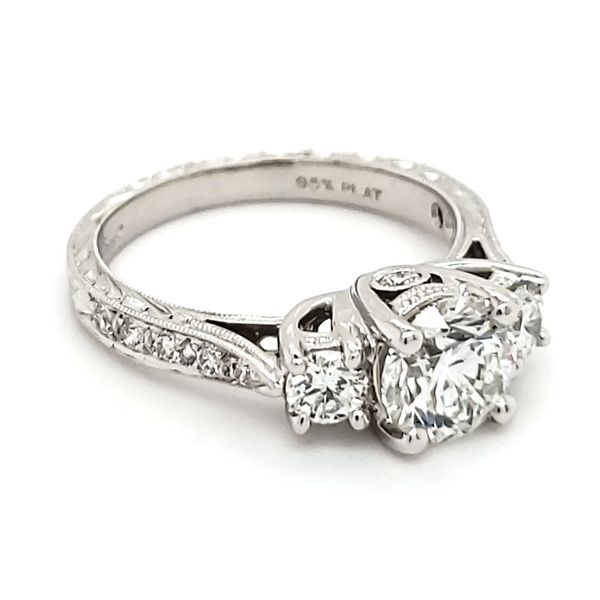 Platinum Three Stone Engraved Diamond Engagement Ring Image 2 Quality Gem, LLC Bethel, CT
