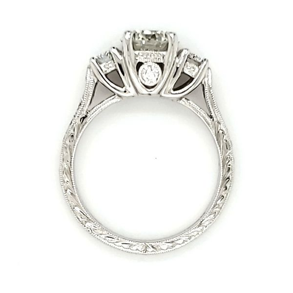 Platinum Three Stone Engraved Diamond Engagement Ring Image 3 Quality Gem, LLC Bethel, CT