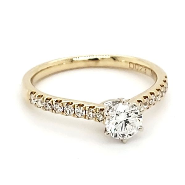 14K Yellow Gold 0.49 Carat Round Brilliant Diamond Engagement Ring Image 2 Quality Gem, LLC Bethel, CT