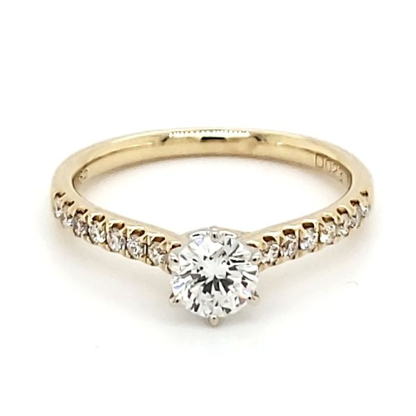 14K Yellow Gold 0.49 Carat Round Brilliant Diamond Engagement Ring Quality Gem, LLC Bethel, CT