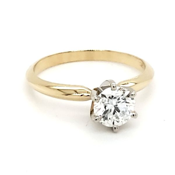 14K Yellow Gold Six Prong Solitaire 0.81 Carat Round Brilliant Diamond Engagement Ring Image 2 Quality Gem, LLC Bethel, CT