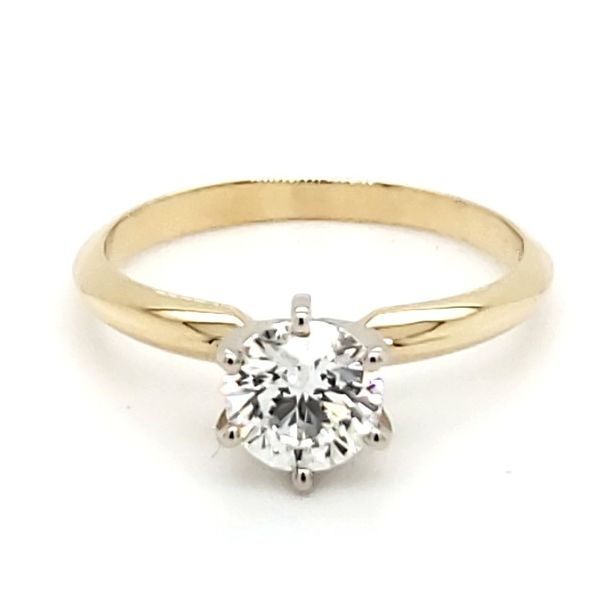 14K Yellow Gold Six Prong Solitaire 0.81 Carat Round Brilliant Diamond Engagement Ring Quality Gem, LLC Bethel, CT
