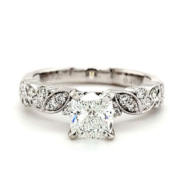 14K White Gold Milgrain Leaf Cushion Diamond Engagement Ring Image 2 Quality Gem LLC Bethel, CT