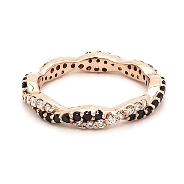 14K Rose Gold Twist White & Black Diamond Eternity Band Quality Gem, LLC Bethel, CT