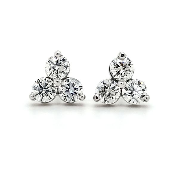14K White Gold Triple Cluster Diamond Stud Earrings Image 2 Quality Gem, LLC Bethel, CT