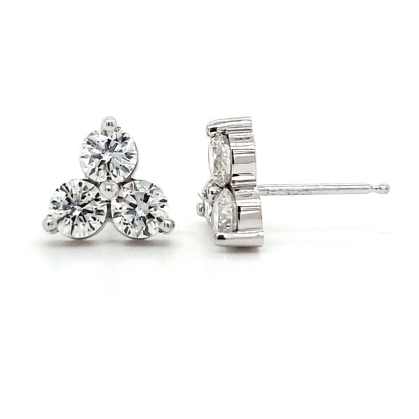 14K White Gold Triple Cluster Diamond Stud Earrings Image 3 Quality Gem, LLC Bethel, CT