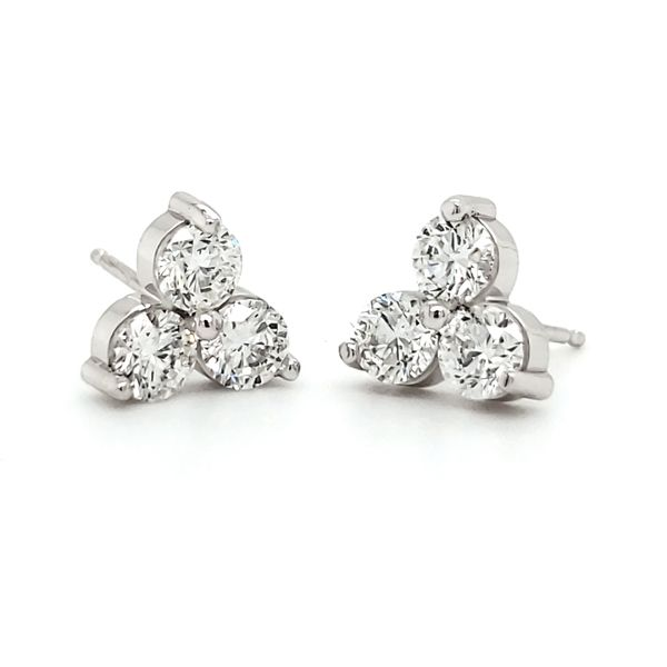 14K White Gold Triple Cluster Diamond Stud Earrings Quality Gem, LLC Bethel, CT