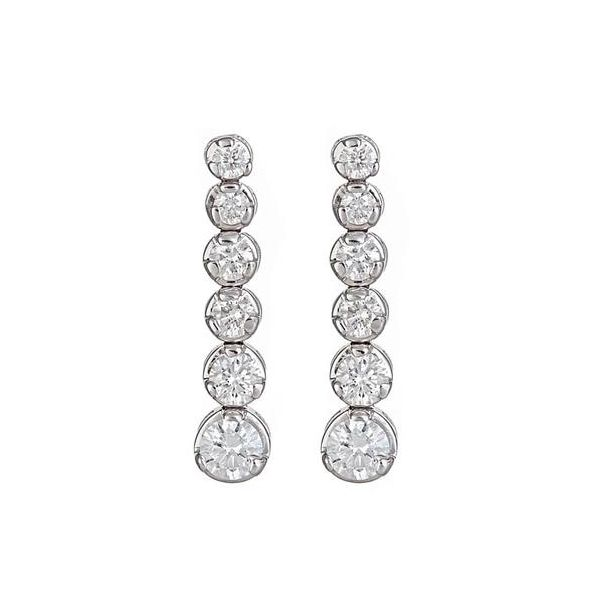 14K White Gold Graduated Diamond Line Dangle Earrings Image 2 Quality Gem, LLC Bethel, CT