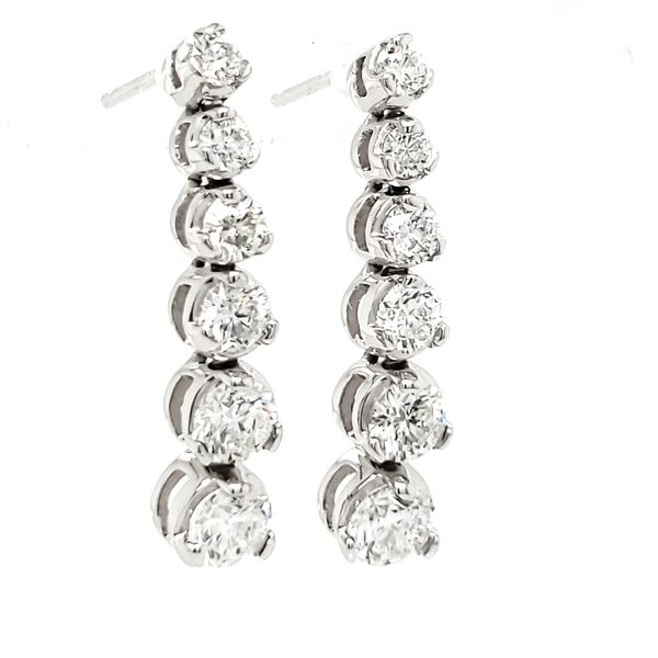 14K White Gold Graduated Diamond Line Dangle Earrings Image 3 Quality Gem, LLC Bethel, CT