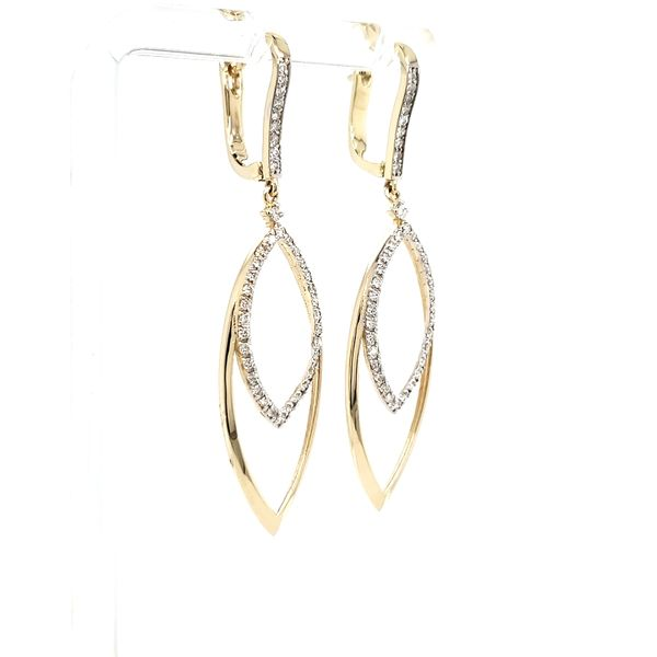 14K Yellow Gold Open Marquise Shape Diamond Dangle Earring Image 2 Quality Gem, LLC Bethel, CT