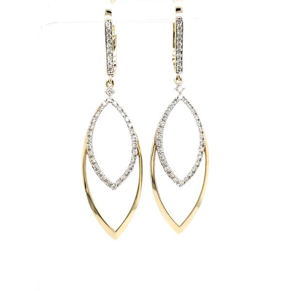 14K Yellow Gold Open Marquise Shape Diamond Dangle Earring Quality Gem, LLC Bethel, CT