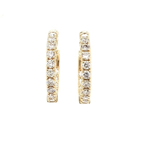 14K Yellow Gold Inside Outside Diamond Hoop Earrings Image 2 Quality Gem, LLC Bethel, CT