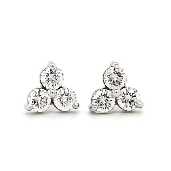 14K White Gold Three Stone Cluster Stud Earrings Image 2 Quality Gem, LLC Bethel, CT