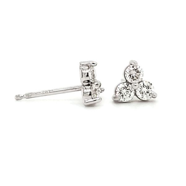 14K White Gold Three Stone Cluster Stud Earrings Image 3 Quality Gem, LLC Bethel, CT