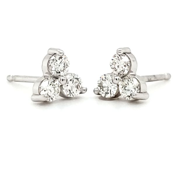 14K White Gold Three Stone Cluster Stud Earrings Quality Gem, LLC Bethel, CT