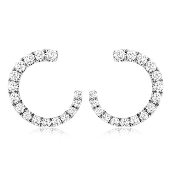 14K White Gold Open Circle Diamond Post Earring Quality Gem, LLC Bethel, CT