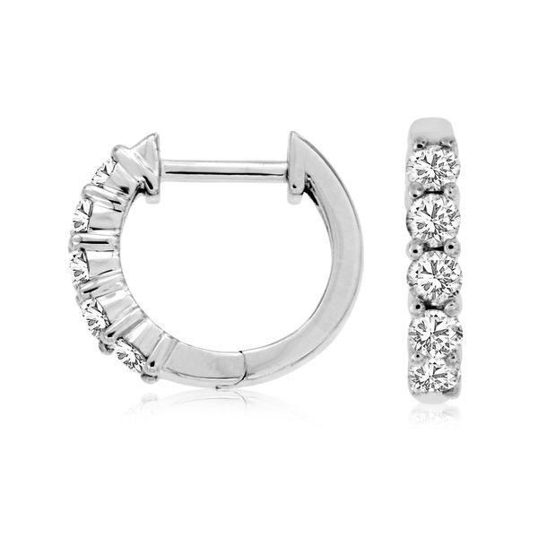 14K White Gold Diamond Huggie Hoop Earrings Quality Gem LLC Bethel, CT