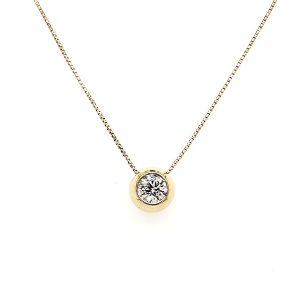 14K Yellow Gold Polish Bezel Diamond Slide Pendant Image 3 Quality Gem, LLC Bethel, CT
