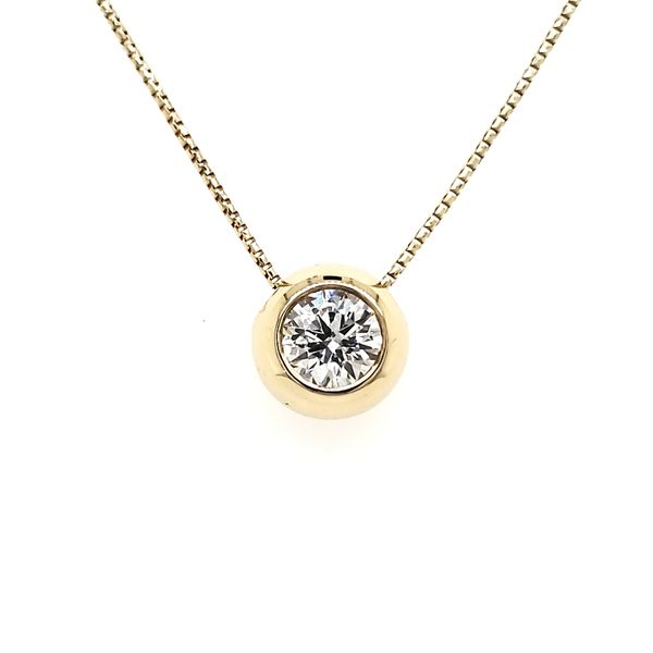 14K Yellow Gold Polish Bezel Diamond Slide Pendant Quality Gem, LLC Bethel, CT