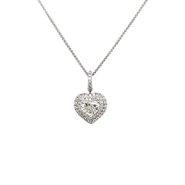 14K White Gold Double Halo Diamond Heart Pendant Image 2 Quality Gem, LLC Bethel, CT