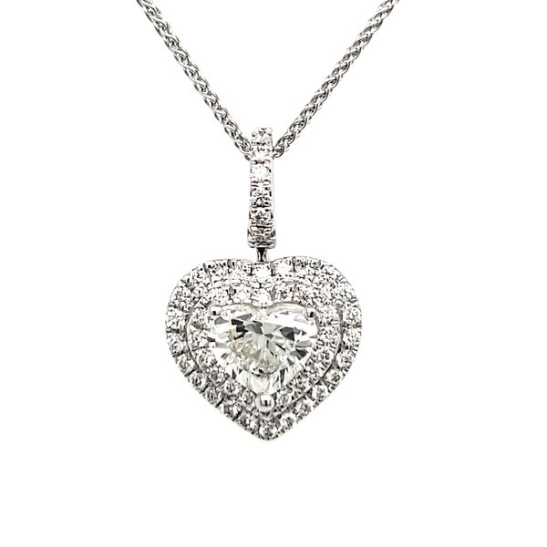 14K White Gold Double Halo Diamond Heart Pendant Quality Gem, LLC Bethel, CT