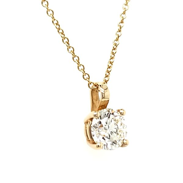14K Yellow Gold Single Diamond Pendant Image 2 Quality Gem, LLC Bethel, CT