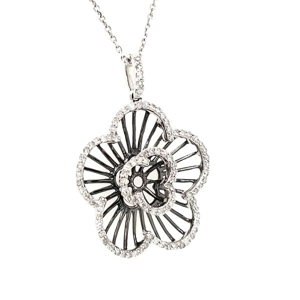 14K White Gold & Black Rhodium Open Diamond Flower Pendant Image 2 Quality Gem, LLC Bethel, CT