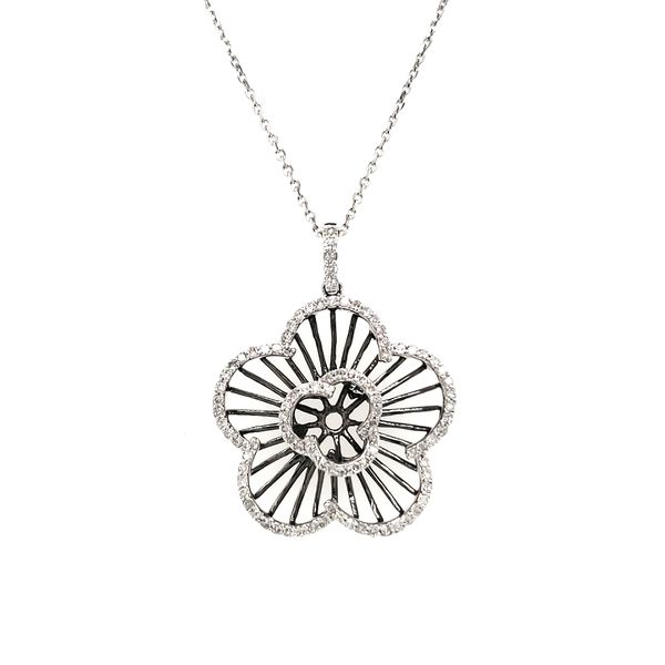 14K White Gold & Black Rhodium Open Diamond Flower Pendant Image 3 Quality Gem, LLC Bethel, CT