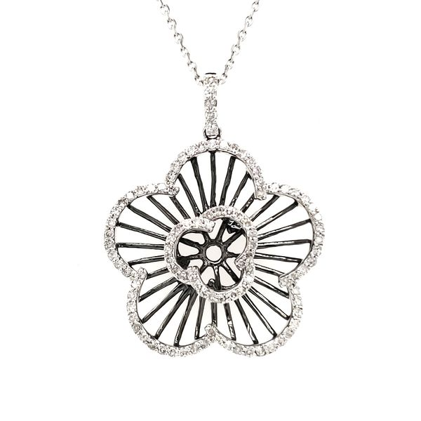 14K White Gold & Black Rhodium Open Diamond Flower Pendant Quality Gem, LLC Bethel, CT